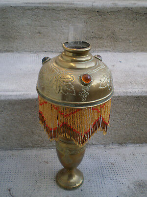 lampe petrole ancienne parisienne broderie