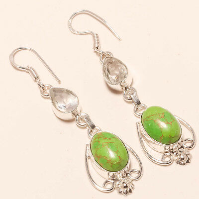 """Green Copper Turquoise,white Topaz Gemstone 925 Silver Jewelry Earring 2.54"""""""