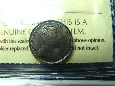 5 cents 1906 Canada ICCS MS-65 King Edward VII 5c 5¢ half-dime small silver coin
