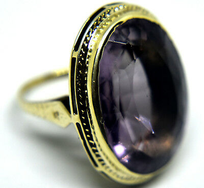 Antique Victorian 14K Solid Gold and Large Amethyst(28CT) Ring Size 7
