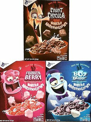 Monster Cereals 2017 3 Pack Count Chocula, Frankenberry, Boo Berry - Back for