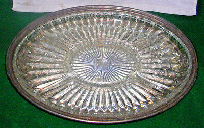 Leonard Silverplate Round Serving Tray With Divided Glass Insert