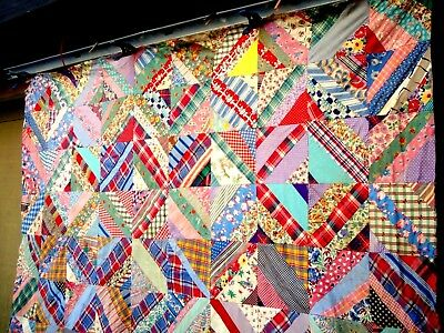 Vintage 30's 40's Log Cabin QUILT TOP crazy quilt hand quited Lots of feed sack