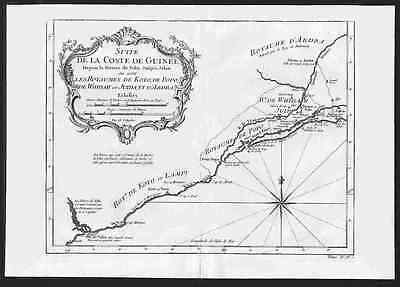 THE SLAVE COAST - Rare 1747 Nautical Chart by Bellin KOTO, POPO, WHIDAH KINGDOMS