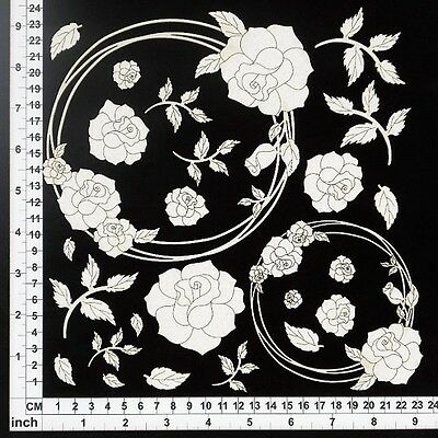 Chipboard Embellishments for Scrapbooking - String Circles Roses 64070