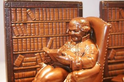 Vintage Bookends,Ben Franklin reading in library,very heavy, cast brass, iron