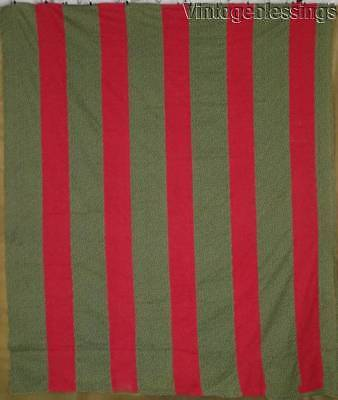 """Antique c1880 Turkey Red Overdyed Green BARS QUILT TOP 77"""" x 66"""""""