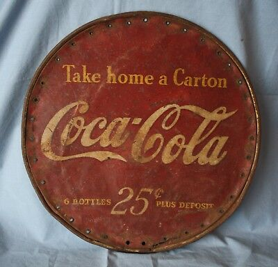 "Vintage Coca Cola 13"" Round metal Store Counter Display Sign  2 Sided"