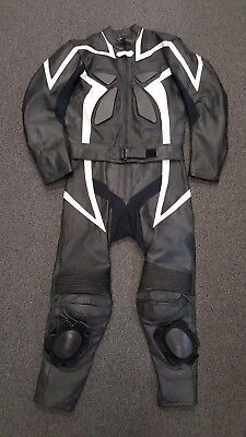 2 PIECE MOTORCYCLE race road LEATHER SUIT SIZE SMALL - MEDIUM black