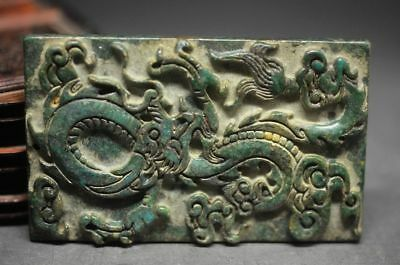 old Green Jade Dragon Pendant Hand-Carved Lucky Amulet Pendant Necklace A5zrf