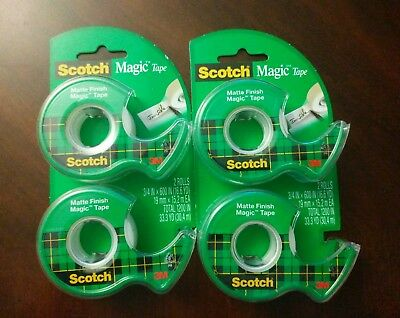 New Scotch Magic Tape  Matte Finish 2 Packs, 4 Rolls Total