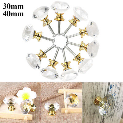 30mm/ 40mm Crystal Glass Cabinet Knobs Diamond Drawer Cupboard Handle Pull 10pcs