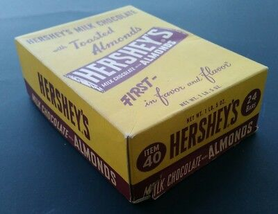 Hershey's Milk Chocolate With Toasted Almond Bar Vintage Empty Box 1940s