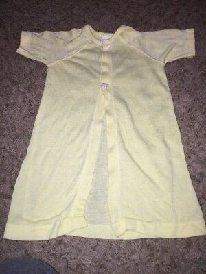 Vintage Baby  Sheer Infant Yellow Snap Pjs Antique Sakswear Newborn or Doll