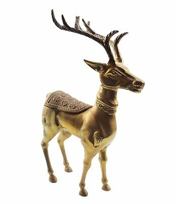 "12"" Tall Solid Brass Reindeer Hidden Saddle Compartment Christmas Heavy 5.5 lbs"