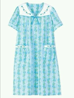 Womens Embroidered Pattern Floral Duster ☆BLUE☆ Size 1XL