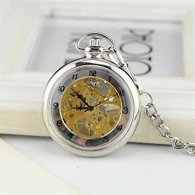 Roman Number Skeleton Hand-winding Mechanical Pocket Watch Steampunk Antique