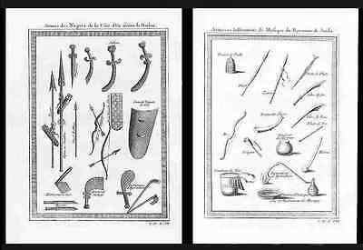 WEAPONS OF THE SLAVE COAST OF AFRICA  –  Two 1754 Engravings (original) – Bellin