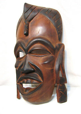 """Large Hand Carved Wood Tribal Mask 13"""" x 7 3/4"""""""