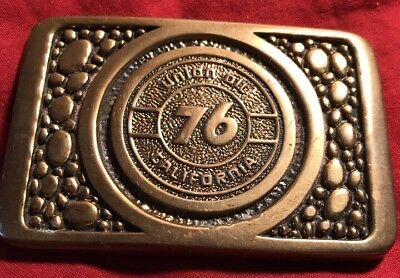 Union Oil 76 California Solid Brass Vintage Belt Buckle PLR Distributors Lompoc