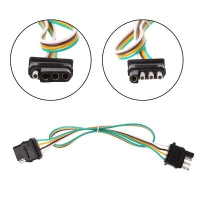 2ft Trailer Light Wiring Harness Extension 4-Pin Plug 18 AWG Flat Wire Connector