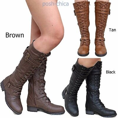 a4a18d979082 New Women RMv Black Tan Brown Combat Military Lace Up Knee High Riding Boots