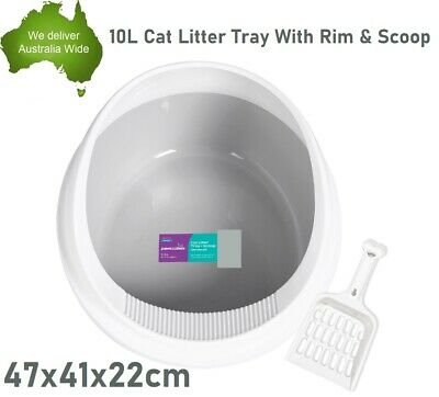 Portable Hooded Cat Kitty Toilet Litter Tray Pet Pan W/Rim Training Box NEW