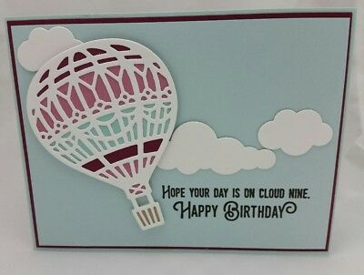 Lot of 6 Pretty Happy Birthday Hot Air Balloon cards made w/Stampin Up! supplies