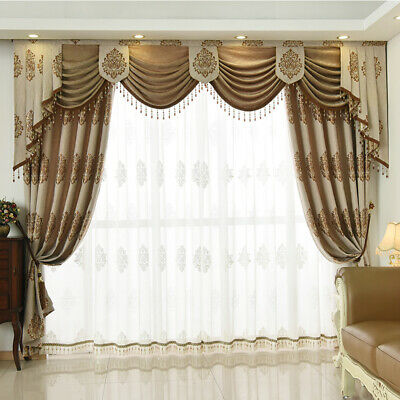 European luxury living room cotton jacquard blackout curtain valance tulle N013