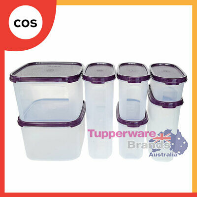 Tupperware 7 Pcs Modular Mates Oval Square Basic Set Black/Red Lid +Mystery Gift