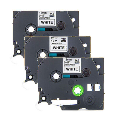 3pcs TZE-231 TZ-231 for Brother Black on White P-touch Laminated Label Tape 12mm