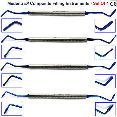 Dental Restorative Filling Composite Gingival Instruments Blue Titanium New 4PCS