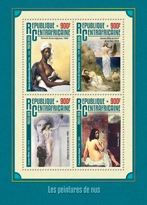 Central African Republic 2016 MNH Nude Paintings Gustav Klimt 4v M/S Art Stamps