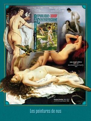 Central African Republic 2016 MNH Nude Paintings Bouguereau 1v S/S Art Stamps