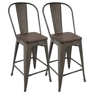 Oregon Industrial High Back Counter Stool With Antique Frame (Set of 2) -Espr...
