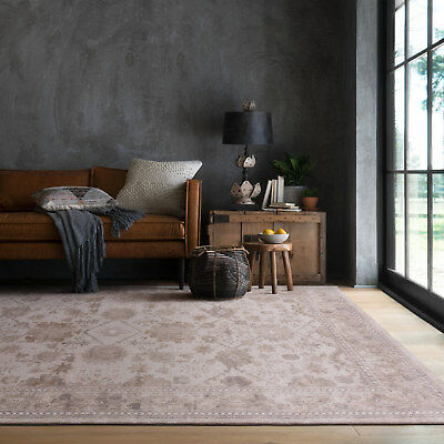 Large Natural Beige Traditional Rug Allover Distressed Persian Carpet 200x290cm
