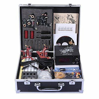 Professional Tattoo Kit 4 Machines Gun Carry Case With Key Power Supply Grips
