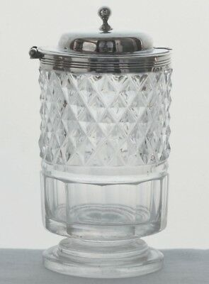 Solid silver and cut glass pedestal mustard pot - London 1813 - 1814