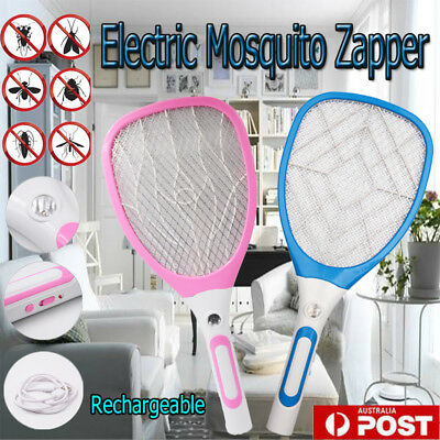 Rechargeable LED Electric Bug Fly Mosquito Killer Swatter Zapper Racket AU