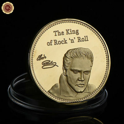 WR Elvis Presley Signed Gold Coin Medal Music Fan Memorabilia Collectibles Gifts