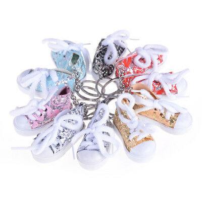 1pc Mini Colourful Sequin Tennis Sports Shoe Keychain Keyring Doll Gifts newest