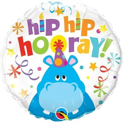 "Hip Hip Hooray | Happy Birthday | Candles | Hippo 18"" Party Foil Balloon 1-5pk"