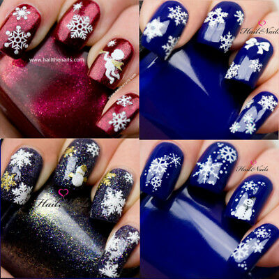 Christmas Snow Santa Nail Nails Art 3D  Decal Wraps Stickers Snowmen Angels