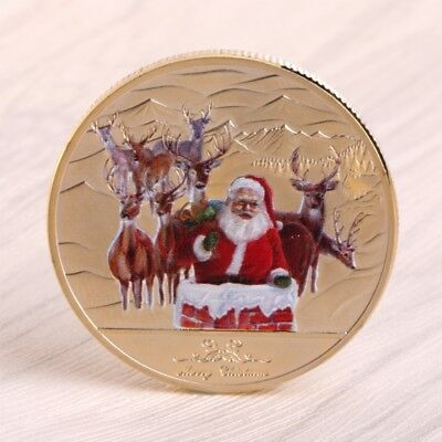 Zinc Alloy Merry Christmas Santa Claus Deer Commemorative Coin Souvenir Golden