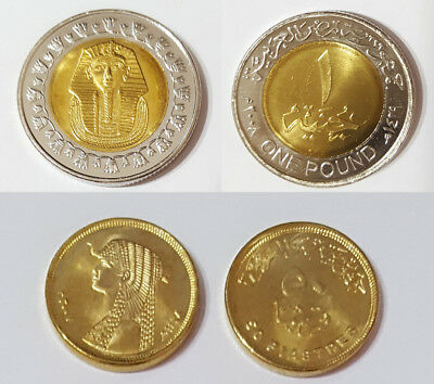 Egypt One Pound Coin King Tut+ 50 Piastre Coin Queen Cleopatra  Both Unc