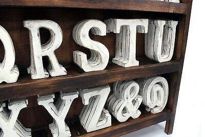 WALL MOUNTABLE LARGE SHABBY CHIC  WHITE WOODEN LETTERS A-Z INITIALS WORDS 15cm