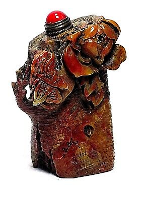 """Chinese Carved Shoushan Stone Snuff Bottle  """"Butterfly and Flower on Tree Stump"""""""