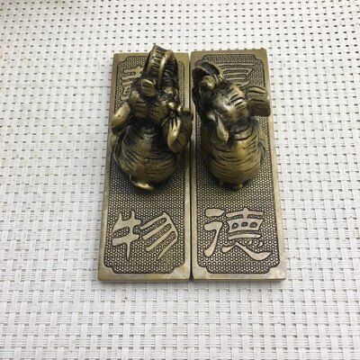 chinese old copper engraving Elephant lifting yoke paper weight  / ZZ