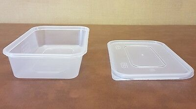 250 x Heavy Duty Clear Plastic 500ml Containers with Lids Satco Microwave Safe