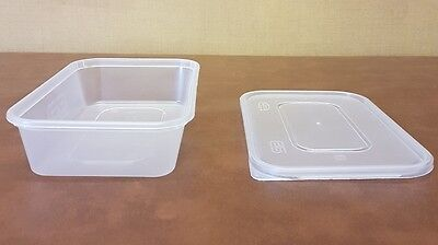 100 x Heavy Duty Clear Plastic 500ml Containers with Lids Satco Microwave Safe